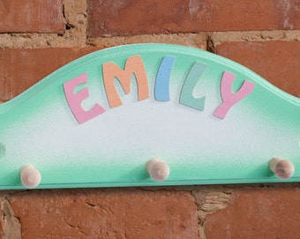 Childrenu0027s Wooden Personalised Triple Coat Hook In Green   Perfect For  Christening Gift, New Baby