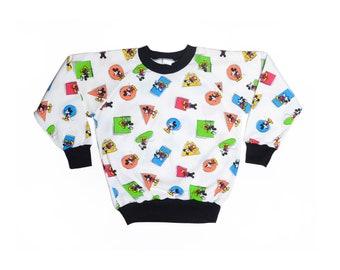 Vintage 80's KIDS Mickey Mouse & Shapes Print Sweatshirt Sz L