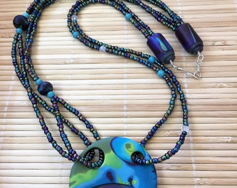 Black and Turquoise Beaded Asymmetrical  Necklace -  Boho Handmade Polymer Clay Jewelry