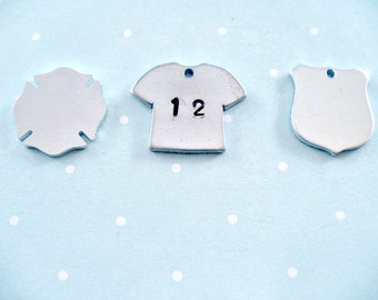 Personalize Your Sports T-Shirt, Your Child's Jersey Number Hand Stamped, Policeman or Firefighter's Number Stamped, Badge, Maltese Cross.