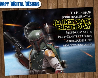 Boba Fett Bounty Hunter Digital Party invitation customize invite birthday thank you card