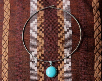 Vintage turquoise stone 925 silver set pendant with metal choker necklace