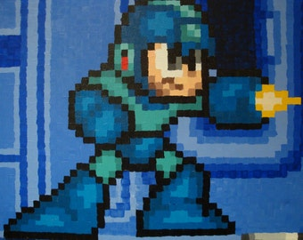 Megaman 7 SNES made to order pixel painting 16x20 canvas