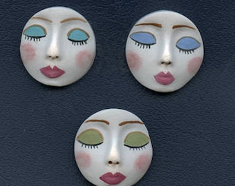 "White Face Cabs  Lot   of 3 Detailed    1 1/4 "" x 1 1/4""  Polymer FLW 3"