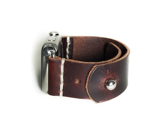 Leather Apple Watch Band 42mm 38mm for Men or Women, Man or Woman in Burgundy Cordovan - Handmade Apple Watch Strap by Cave Leather Co