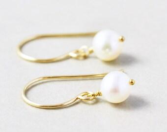 Pearl Earrings, White Freshwater Pearl Earrings, June Birthstone, Bridesmaid Gift