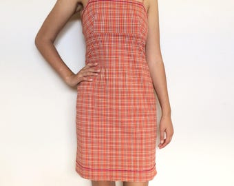 90s plaid check dress