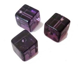 10 x 10mm plum glass cube beads