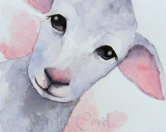 Lamb Watercolor Print, Sheep Print, 4x6 Painting, Note Card and Envelope, Nursery Animal Watercolor,  Nursery Painting, Nature Wall Decor