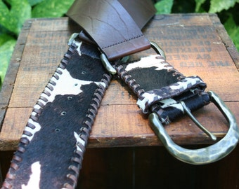 Saks Fifth Avenue Wide  Brown Leather Belt Cow Hide L