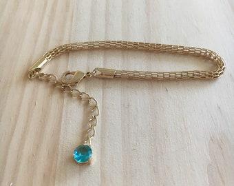 Gold Bracelet for Women, Aquamarine Birthstone, March Birthstone Bracelet, Bracelet for Women, Aquamarine Bracelet