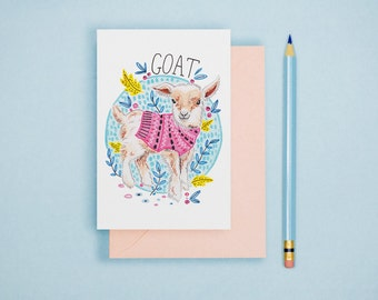 Goat Illustration Print - Animal Postcard, Animal Print, Alphabet Card, Nursery Art, Cute Greeting Card, Art Print, Wall Art