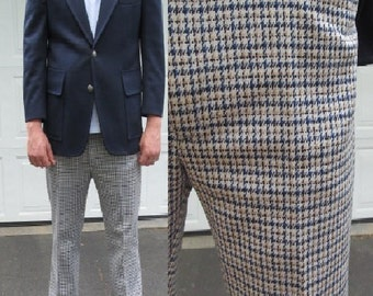 1970s suit with blue blazer and matching blue and yellow checkered pants, polyester suit