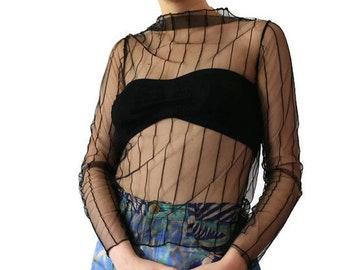 Black Sheer Top | 90s See Through Top | Mesh Top |Sheer Blouse |Textured Long Sleeve Top | Vintage Black Top /Soft Grunge Top 1990s Fish Net