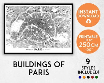 Paris map print, Paris print, Paris city map, Paris poster, Paris wall art, France map Map of Paris, Paris art, Paris map poster, Paris gift