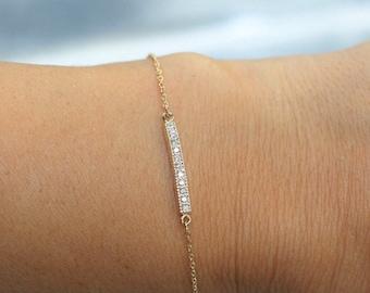 14k solid gold diamond bar bracelet pave bracelet dainty diamond braceleet