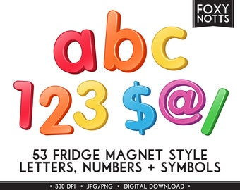 Rainbow Fridge Magnet Alphabet & Numbers Clip Art: 3D, Digital Download, Clipart, Scrapbooking, Printable, Graphics, Letters, Font