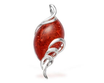 Simulated Red Amber Resin Free Form Pendant in Silver-tone Without Chain