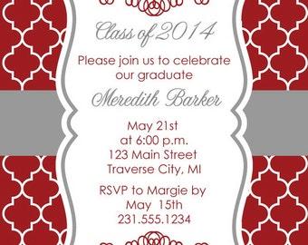 Quatrefoil Graduation Party Invitation -Graduation Announcement - College and High School Grad Invite