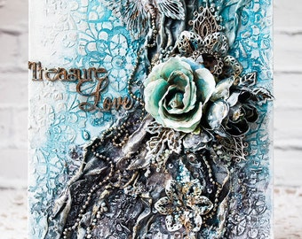 Home decor - Mixed media collage on canvas - Blue Gray