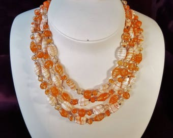 Multi Strand Glass Bead Necklace and Earrings - Orange, Cream, Swirl, Opaque and Translucent