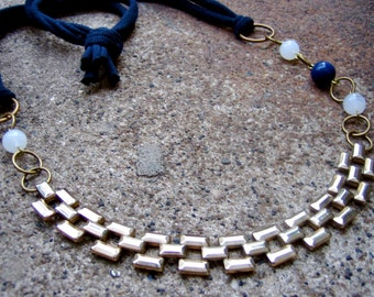Eco-Friendly T Shirt Yarn Statement Necklace - Off the Grid - Recycled Vintage Goldtone Woven Metal Chain and Navy Blue and White Beads