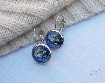 Earth earrings Blue Planet earrings World earrings Earth jewelry Space Galaxy jewelry Solar System Leverback earrings Traveller gift jewelry