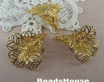 10pcs Raw Brass Plated Flower Beadcaps Filigree Finding-24 x 29mm