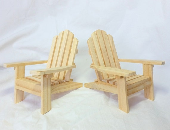 Awesome Set Of 2 Mini Adirondack Chairs Unfinished / DIY Wooden