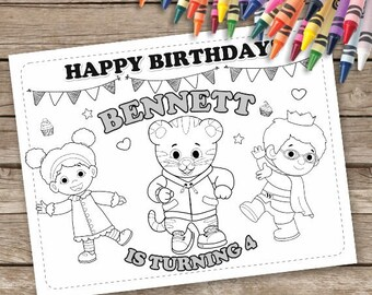 Daniel Tiger Birthday Coloring Pages, 6 Digital Daniel Tiger Printable Coloring Pages, Daniel Tiger Birthday Activities