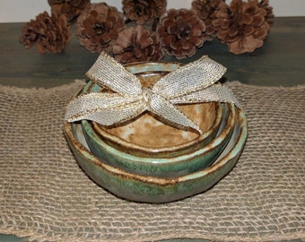 set of 3 rustic pinch bowls, green and white bowls, small bowls,