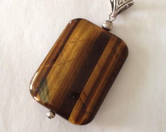 Tiger Eye Pendant- large pendant with 925 silver Filigree bails- Gemstone pendant- Handmade Jewelry