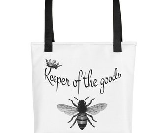 """15x15"""" Tote bag school bag gift bag shopping bag crown queen bee keeper of the goods"""