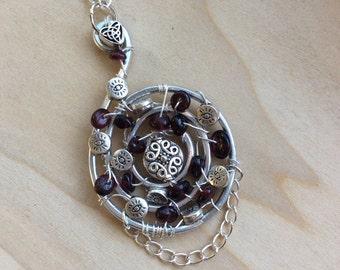 Celtic Spiral Garnet Necklace, Celtic Heart Necklace, January Birthstone Necklace, January Gift, Garnet Jewelry, Irish Jewelry