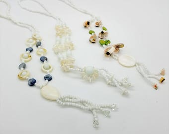 Lot of 3 Vintage Beaded Shell Lariat Necklaces