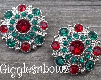 NEW Set of TWO CHRiSTMaS EDITION ReD and Emerald Acrylic Rhinestone Buttons 27mm