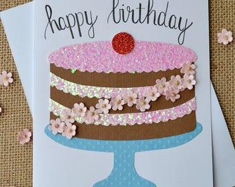 Happy Birthday Card, Happy Birthday Greeting Card, Happy Birthday Card With Cake, Handmade Happy Birthday Card