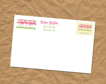 Custom Return Address Labels - Flamingo - Stickers