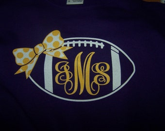 Football with Bow Monogram  YOUTH T-Shirt