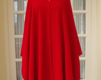 Vintage Red Wool & Cashmere Peter James Cape 1990s