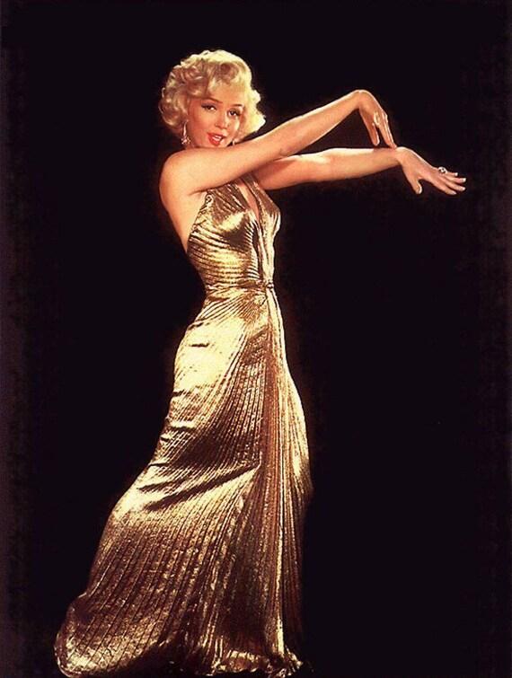 Men Prefer Blondes Gold Dress gown replica Marilyn Monroe