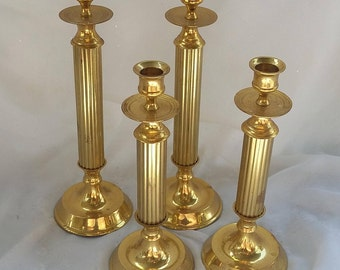 Set of Four Brass Candlestick Taper Holders