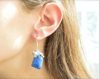 Vine & Leaf Wrapped Denim Lapis Earrings
