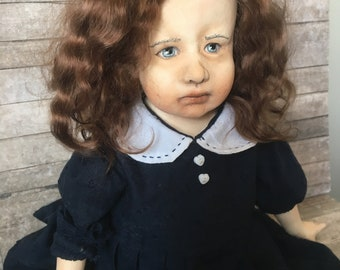 OOAK art doll, one of a kind doll, sculpted doll, Art doll, Paper clay doll, Handmade doll, retro doll, Art clay doll, Artist doll