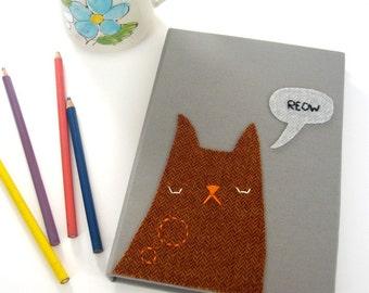 Kitty Sketchbook 6in x 8.75in rust orange herringbone
