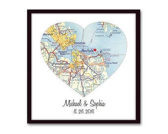 Personalized Gift for Couple, Wedding Gift, Engagement Gift Custom Map Gift for Bride, Heart Map Art Print, Anniversary Gift, Newlywed Gift