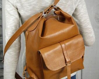 LEATHER BACKPACK PURSE Convertible backpack Tote Bag Camel Brown Leather Shoulder Bag Women's Handbag Leather Bag iPad Case