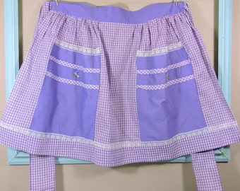 Vintage Purple Gingham Apron / Gingham Vintage Apron / Purple and White Apron