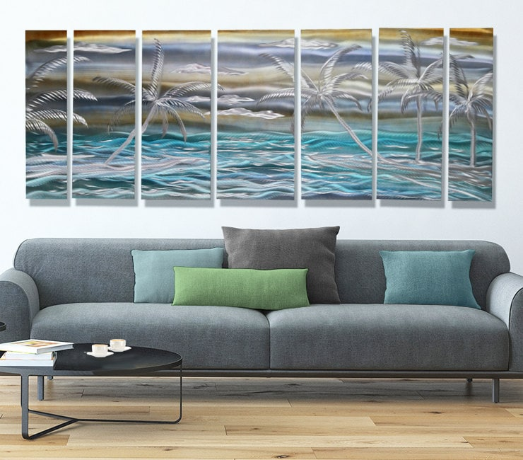 Extra Large Modern Metal Wall Art In Aqua & Gold Tropical