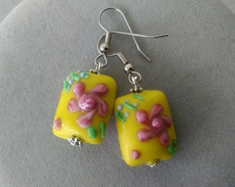 Yellow and Pink Floral Lampwork Glass Earrings